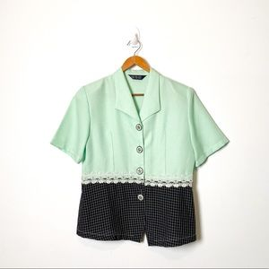 Vintage Style Mint Green Sixties Lace Button Up Blouse